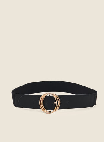 Triple Buckle Wide Elastic Belt, Black,  fall winter 2020, triple buckle, textured metal, wide belt, vegan leather