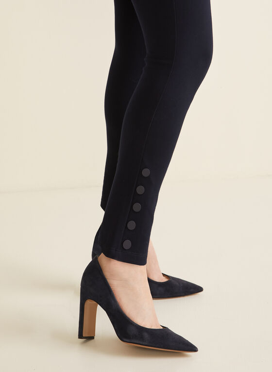Button Detail Leggings, Blue