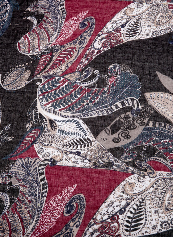 Paisley Print Oblong Scarf, Black, hi-res
