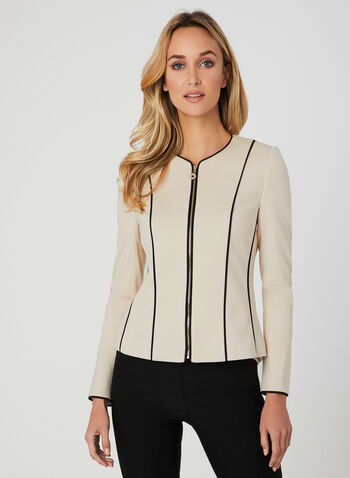 Contrast Piping Jacket, Off White, hi-res