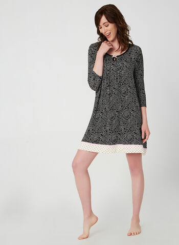 René Rofé - Floral Print Nightgown, Black,  fall winter 2019, jersey, floral print, night shirt, 3/4 sleeves