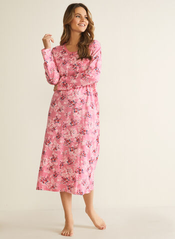 Floral Print Button Detail Nightgown, Multi,  pyjamas, sleepwear, nightgown, floral print, long sleeves, scoop neck, buttons, fall winter 2020