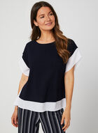 Colour Block Poncho Top, Blue