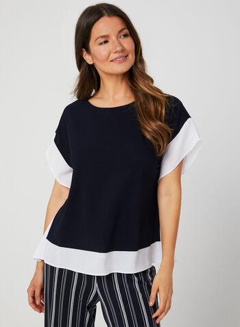 Blouse poncho contrastante, Bleu,  blouse, poncho, crêpe, contrastant, automne hiver 2019