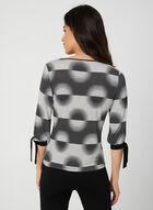 Geometric Print ¾ Sleeve Top, Black, hi-res