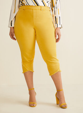 Fringe Hem Denim Capri Pants, Yellow,  pants, jeans, denim, capri, fringe, stretchy, pull-on, pockets, spring summer 2020