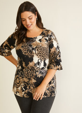 Baroque Print Ruffled Sleeve Top, Black,  Fall winter 2020, made in canada, ¾ ruffled sleeves, leopard print, animal print, baroque, round neckline, ruffled