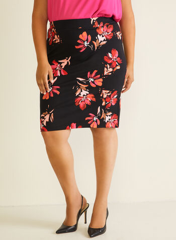 Floral Print Straight Skirt, Black,  skirt, straight, floral, pull-on, ponte di roma, spring summer 2020