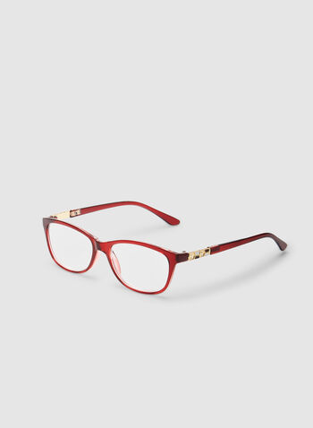 Oval Reading Glasses, Red,