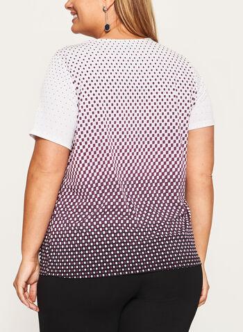 Haut à manches courtes et motif géométrique, Noir, hi-res