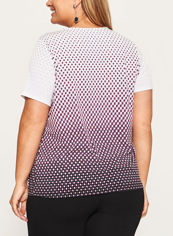 Geometric Print Square Neck Top, Black, hi-res
