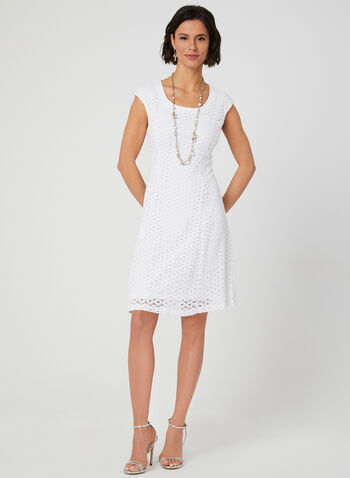 Popover Crochet Lace Dress, White, hi-res,  fit & flare dress, spring 2019, summer 2019, sleeveless dress