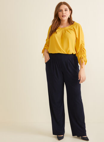 Joseph Ribkoff - Pull-On Wide Leg Pants, Blue,  pants, wide leg, jersey, pull-on, pockets, spring summer 2020