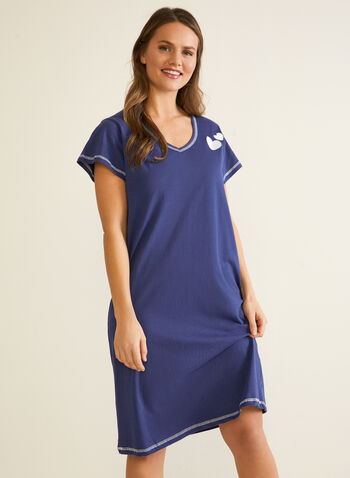 Short Sleeve Nightgown, Blue,  fall winter 2020, sleepwear, nightgown, pyjamas, short sleeves, v-neck, heart applique, made in Canada