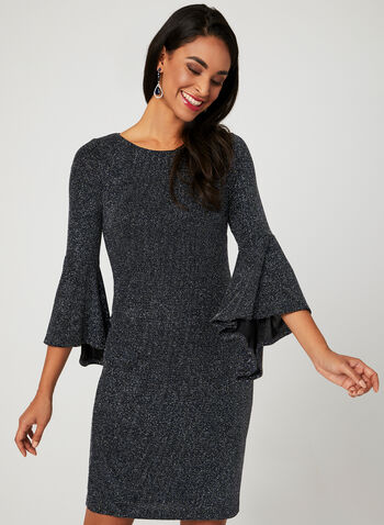 Bell Sleeve Sparkle Dress, Blue, hi-res