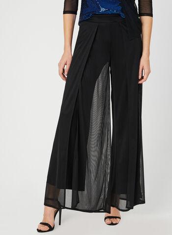 Pantalon à jambe large avec mousseline, Noir, hi-res