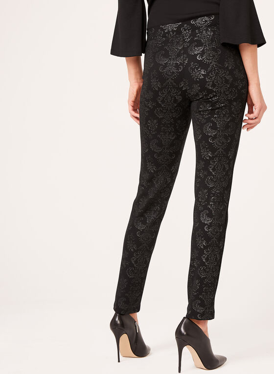 Baroque Print Pull-On Pants, Black, hi-res