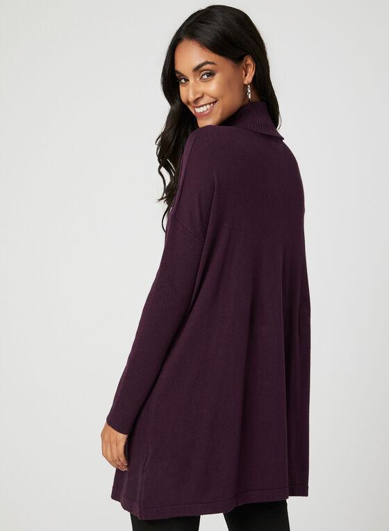 Pull tunique style enveloppe à col roulé, Violet, hi-res