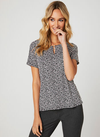Dot Print Short Sleeve Top, Multi, hi-res