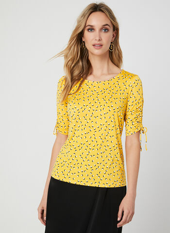 Dot Print ¾ Sleeve Top, Yellow,  3/4 sleeves, jersey, ruched, shirred, fall 2019, winter 2019
