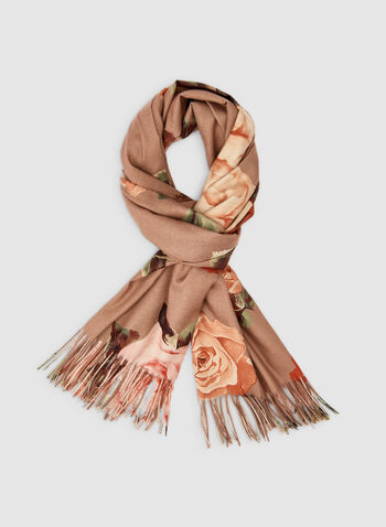 Floral Print Scarf, Brown,  fall winter 2019, scarf, floral print, fringe