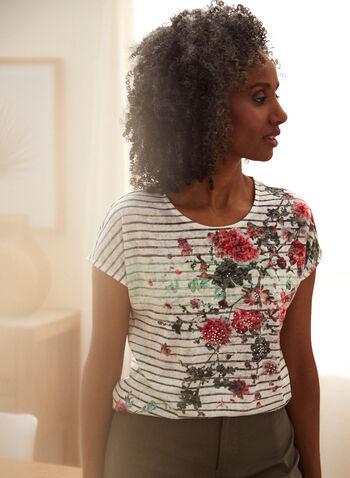 T-shirt imprimé et détails pierres du Rhin, Vert,  printemps été 2021, haut, t-shirt, motif, imprimé, floral, fleurs, rayures, rayé, encolure arrondie, manches courtes, pierres du rhin