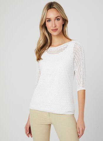 Pull en tricot à manches coude, Blanc, hi-res