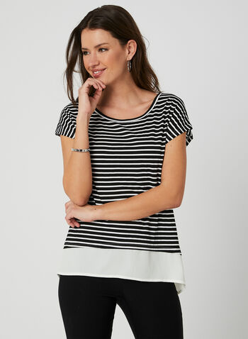 Ness - Stripe Print Top, Black, hi-res