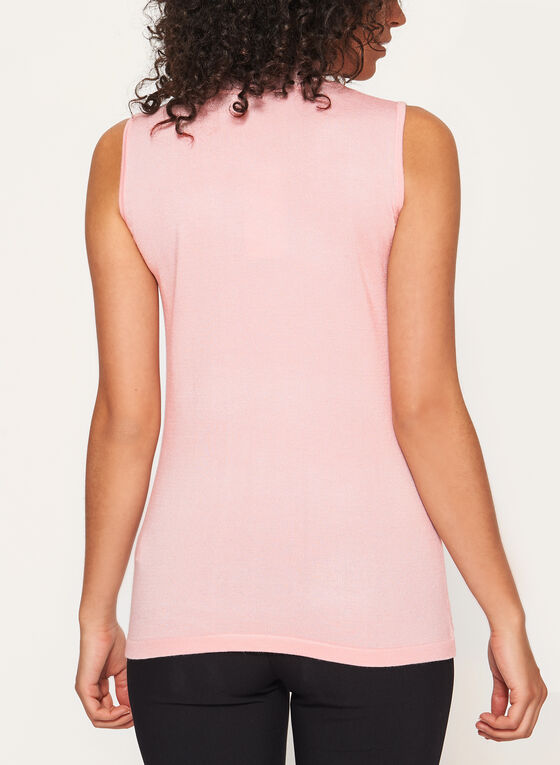 Sleeveless Mock Neck Pointelle Tank, Pink, hi-res