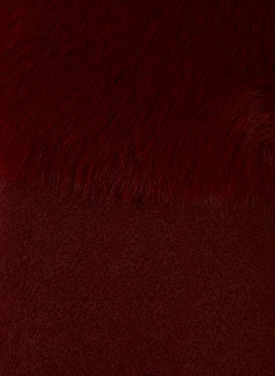 Faux Fur Trim Scarf, Red