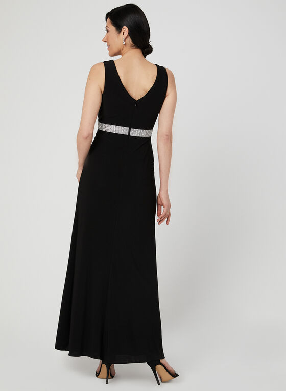 Sleeveless Empire Waist Gown, Black, hi-res