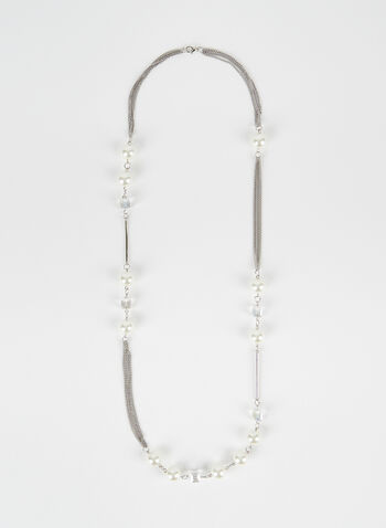 Pearl Detail Chain Necklace, Off White, hi-res