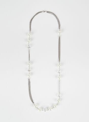 Collier à multiples chaînes et perles, Blanc cassé, hi-res