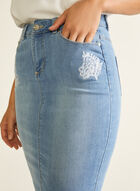 Blossom - Embroidered Detail Denim Skirt, Blue