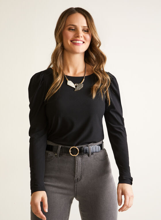 Crepe Top With Puffed Sleeves, Black