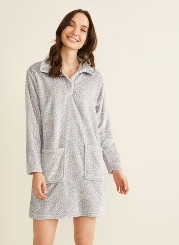 Karmilla Lingerie - Chemise de nuit en peluche, Multi,  chemise de nuit, col montant, peluche, pois, boutons-pression, poches, automne hiver 2019