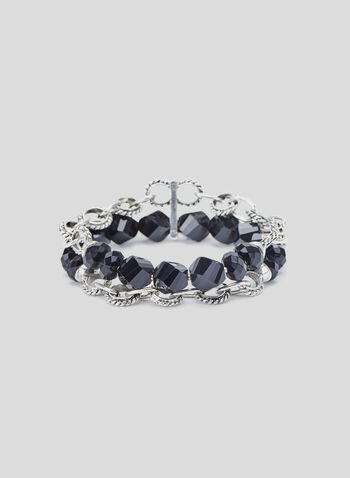Layered Bead Bracelet, Black, hi-res