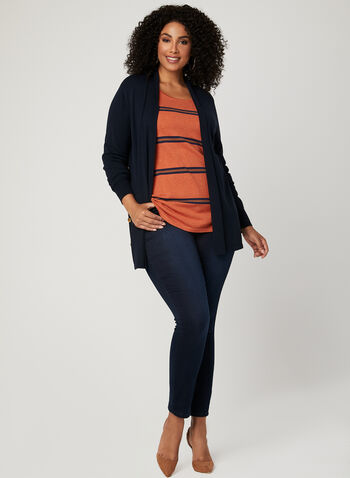 Stripe Print Scoop Neck Sweater, Orange, hi-res