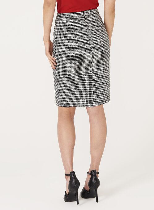 Houndstooth Knit Pencil Skirt, Black, hi-res