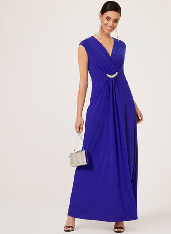 Jessica Howard - Rhinestone Detail Surplice Neck Dress, Blue, hi-res