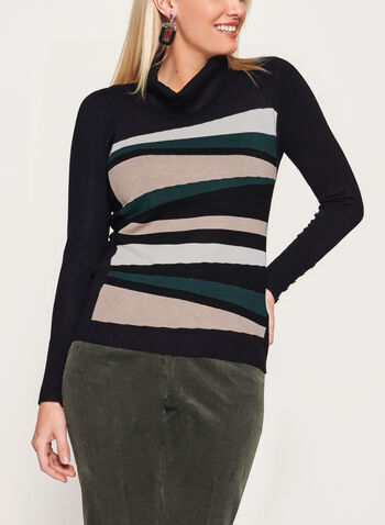 Stripe Knit Funnel Neck Sweater, Brown, hi-res
