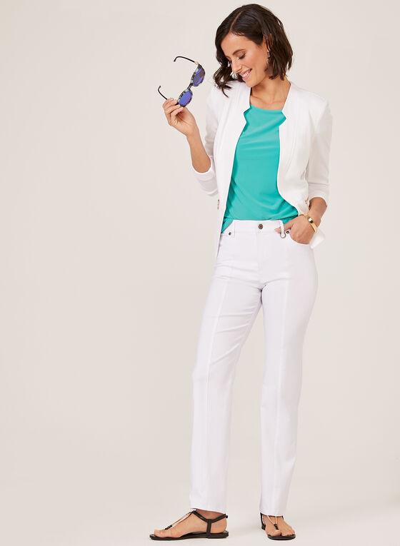 Simon Chang - Pantalon coupe signature à jambe droite, Blanc, hi-res