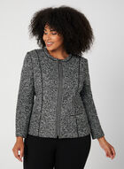 Long Sleeve Bouclé Jacket, Grey