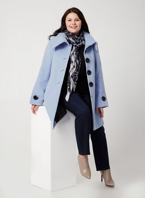 Manteau aspect laine à manches évasées, Bleu, hi-res