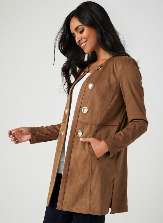 Faux Suede Redingote, Brown