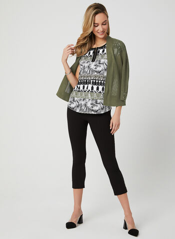 Aztec Print T-Shirt, Green, hi-res