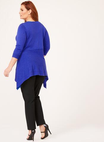 Pull tunique asymétrique à col V avec lanières, Bleu, hi-res