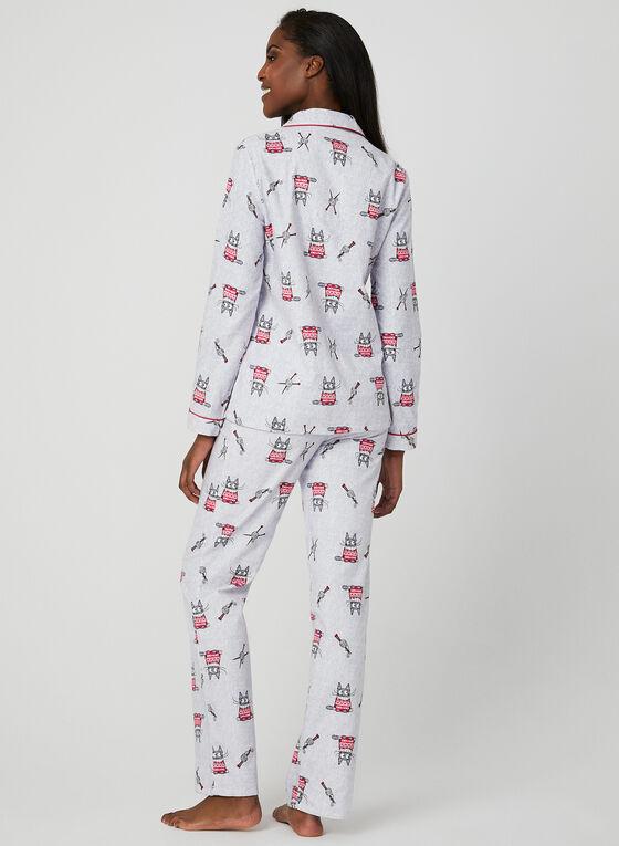 Claudel Lingerie - Graphic Print Pyjamas, Grey, hi-res