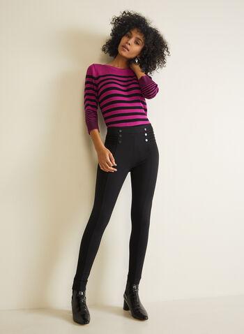 Button & Rib Detail Leggings, Black,  leggings, pull-on, slim leg, ponte di roma, button details, fall winter 2020