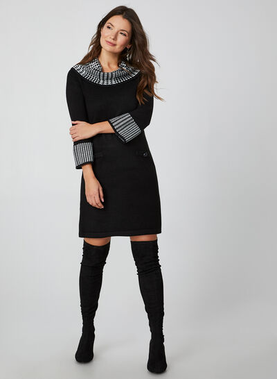 Houndstooth Print Cowl Neck Sweater Dress